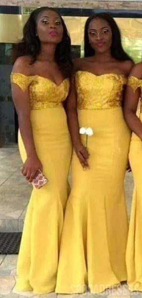 Off The Shoulder Yellow Mermaid Long Bridesmaid Dresses Online, WG794