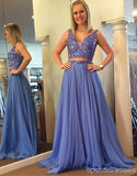 Sexy Two Pieces V Neckline Lavender Tulle Long Evening Prom Dresses, Popular Cheap Long Custom Party Prom Dresses, 17340