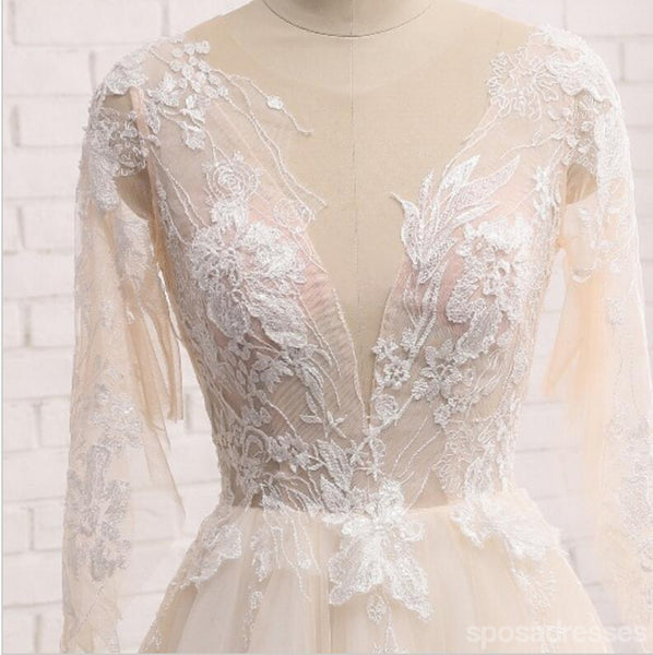 Sexy See Through Long Sleeve Lace Wedding Bridal Dresses, Custom Made Wedding Dresses, Affordable Wedding Bridal Gowns, WD238