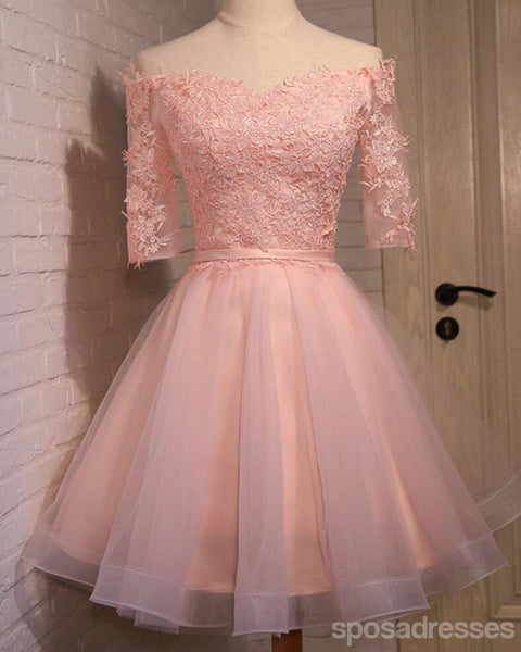 Off Shoulder Short Sleeve Pink Lace Cute Homecoming Prom Dresses, Affordable Short Party Prom Dresses, Perfect Homecoming Dresses, CM306