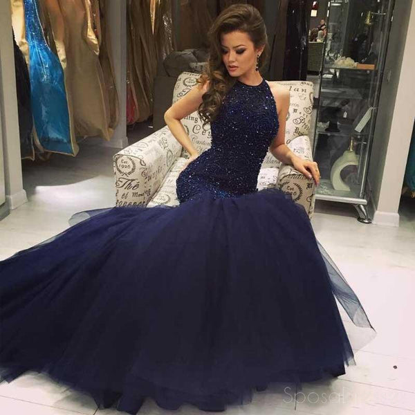 Navy Halter Mermaid Evening Prom Dresses, Long Open Back Evening Prom Dress, Beaded Prom Dress, Party Prom Dress, Formal Prom Dress, 17021