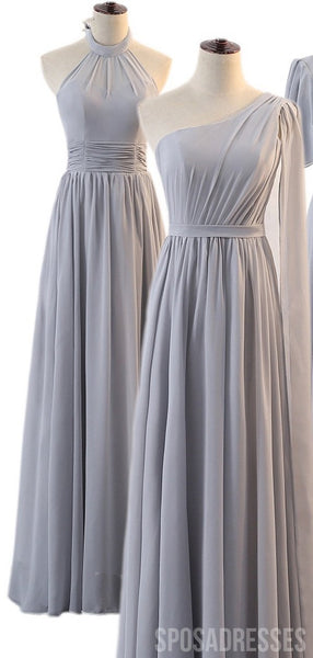 Mismatched Grey Chiffon Long Bridesmaid Dresses Online, WG795