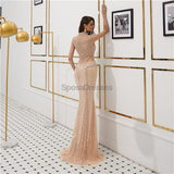 High Neck Cap Sleeves Heavily Beaded Sexy Mermaid Evening Prom Dresses, Evening Party Prom Dresses, 12094