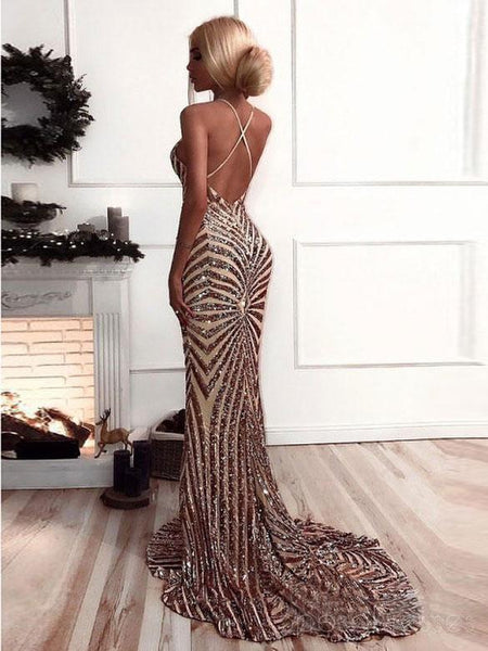 Rose Gold Sequin Mermaid Long Evening Prom Dresses, Cheap Custom Party Prom Dresses, 18579