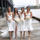 Off White Short Mermaid Straps Cheap Bridesmaid Dresses Online, WG670