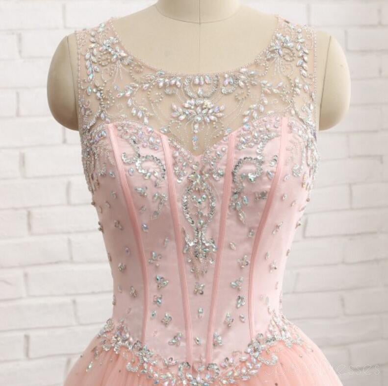 Sexy Open Back Scoop Neckline Blush Pink Evening Prom Dresses, Popular Beaded Party Prom Dress, Custom Long Prom Dresses, Cheap Formal Prom Dresses, 17153