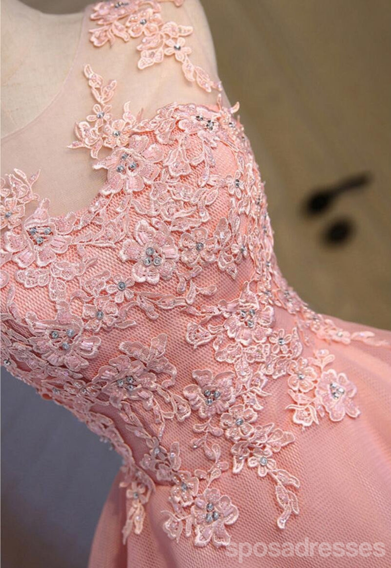 Pink See Through Lace Cute Homecoming Prom Dresses, Affordable Short Party Prom Dresses, Perfect Homecoming Dresses, CM308