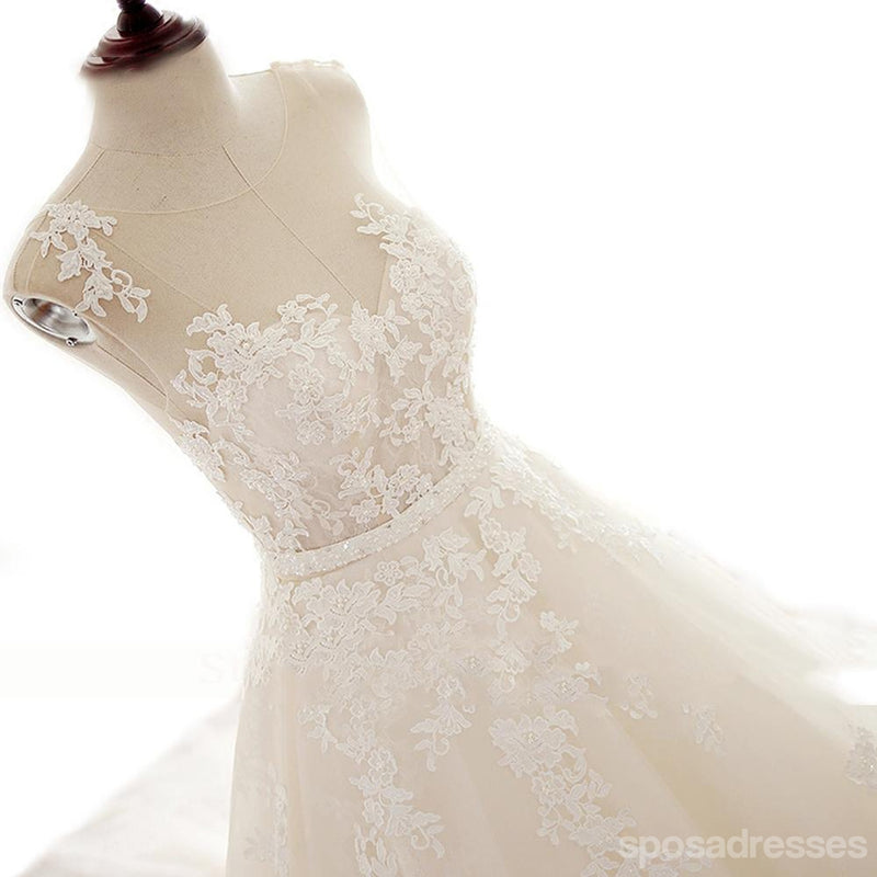Sexy See Through Lace Beaded Scoop Neckline A line Wedding Bridal Dresses, Affordable Custom Made Wedding Bridal Dresses, WD263