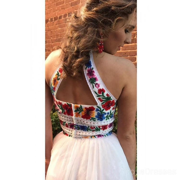 Halter Two Pieces Embroidery White Long Evening Prom Dresses, Cheap Custom Sweet 16 Dresses, 18457