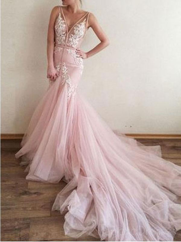Sexy Backless Pink Lace Straps V Neck Long Evening Prom Dresses, 17515