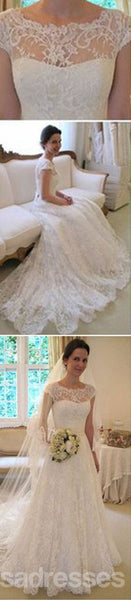 Long A-Line Round Neck Illusion White Lace Wedding Party Dresses, WD0044