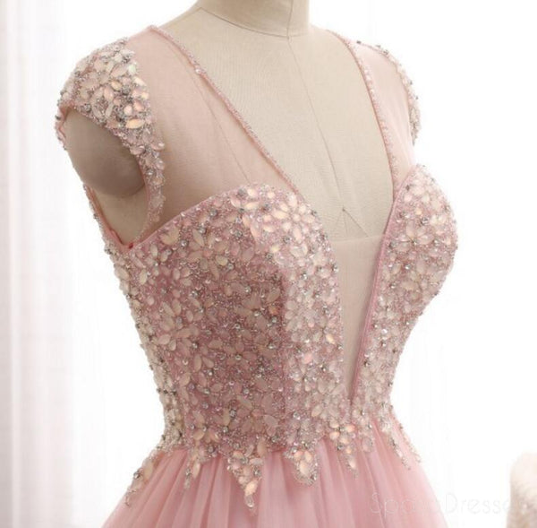 Sexy See Through Deep V Neckline Blush Pink Evening Prom Dresses, Popular Beaded Party Prom Dress, Custom Long Prom Dresses, Cheap Formal Prom Dresses, 17152