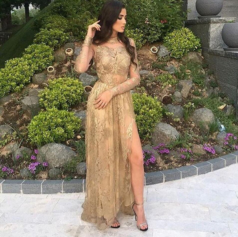Women Fashion Long Sleeve Gold Lace Evening Prom Dresses, Popular Cheap Long 2018 Party Prom Dresses, 17304