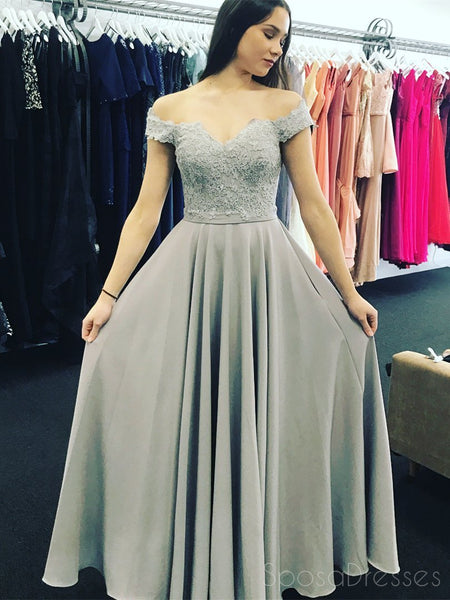 Simple Fashion Off Shoulder Grey Lace Floor Length Custom Long Evening Prom Dresses, 17378