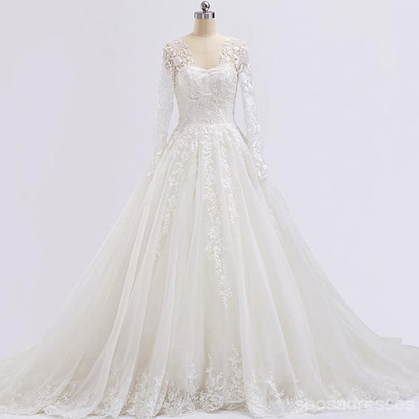 Long Sleeve Lace Beaded See Through A line Wedding Bridal Dresses, Affordable Custom Made Wedding Bridal Dresses, WD264