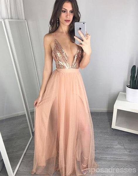 Sexy Deep V Neckline Backless Gold Sequin Long Evening Prom Dresses, Popular Cheap Long 2018 Party Prom Dresses, 17273