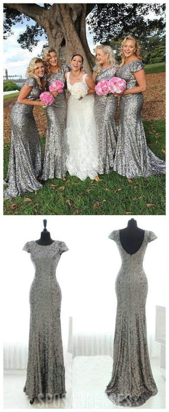 Popular Cheap Cap Sleeve Silver Sequin Sexy Bridesmaid dresses, WG46
