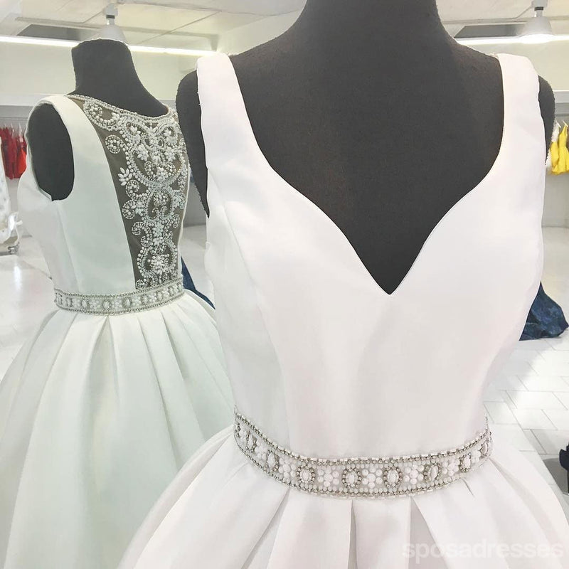 Sexy See Through V Neck Short Rhinestone White Homecoming Dresses 2018, CM486