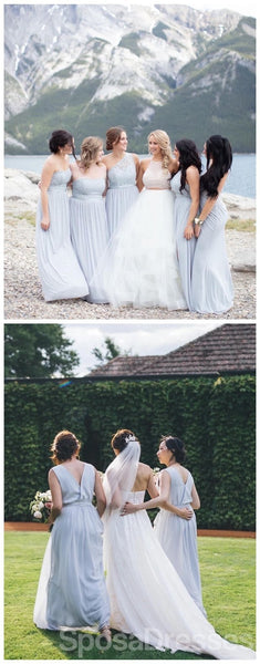 Mismatched Chiffon Blue Lace Bodice Cheap Bridesmaid Dresses Online, WG672