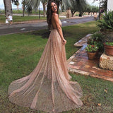 Sexy Backless Spahgetti Straps Halter Long Evening Prom Dresses, Cheap Custom Sweet 16 Dresses, 18477