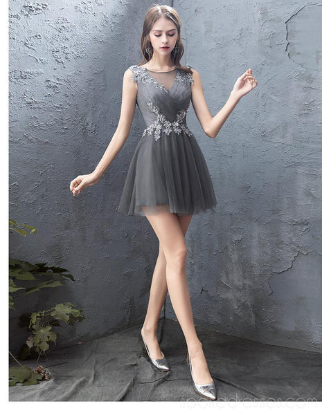 Grey Lace Beaded Cheap Homecoming Dresses Online, Cheap Short Prom Dresses, CM771