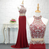 Sexy Two Pieces Red Mermaid Beaded Long Evening Prom Dresses, Popular Cheap Long 2018 Party Prom Dresses, 17299