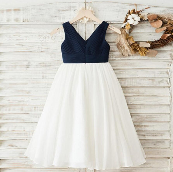 Navy Chiffon V-neck White Skirt Flower Girl Dresses, Simple Little Girl Dresses, FG081