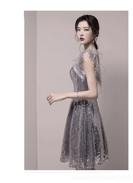 Feather Straps Silver Sequin Sparkly Cheap Homecoming Dresses Online, Cheap Short Prom Dresses, CM772