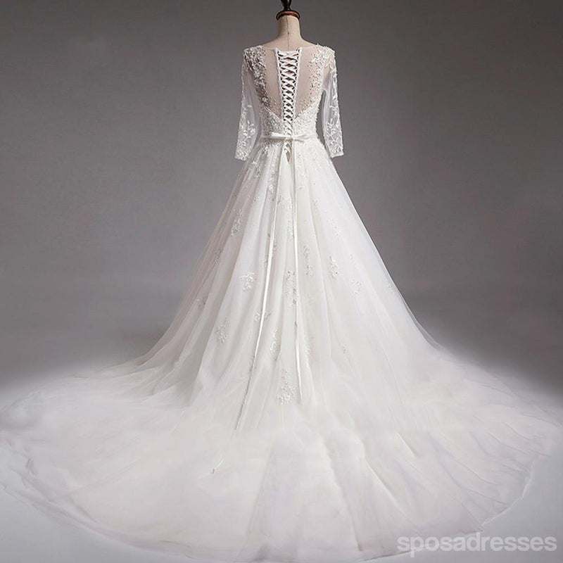 Sexy See Through Long Sleeve Lace A line Wedding Bridal Dresses, Affordable Custom Made Wedding Bridal Dresses, WD266