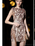 Short Sleeves Sparkly Gold Sequin Cheap Homecoming Dresses Online, Cheap Short Prom Dresses, CM773