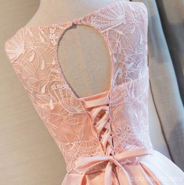Scoop Neckline Peach Lace Cute Homecoming Prom Dresses, Affordable Short Party Prom Dresses, Perfect Homecoming Dresses, CM311