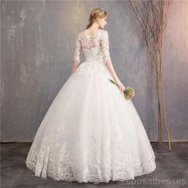 Long Sleeves Lace Ball Gown Cheap Wedding Dresses Online, Cheap Bridal Dresses, WD495