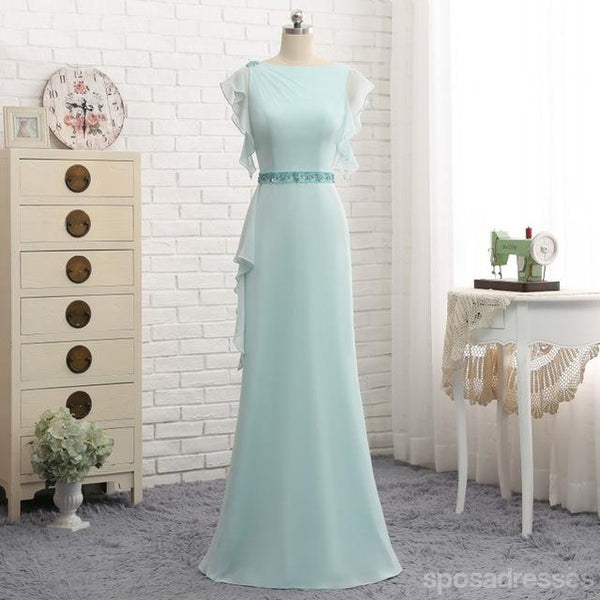 Tiffany Blue Puffy Sleeve Evening Prom Dresses, Popular Unique Party Prom Dress, Custom Long Prom Dresses, Cheap Formal Prom Dresses, 17173