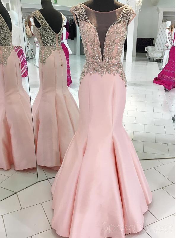 Pink Cap Sleeve Beaded V Neck Mermaid Long Evening Prom Dresses, 17518