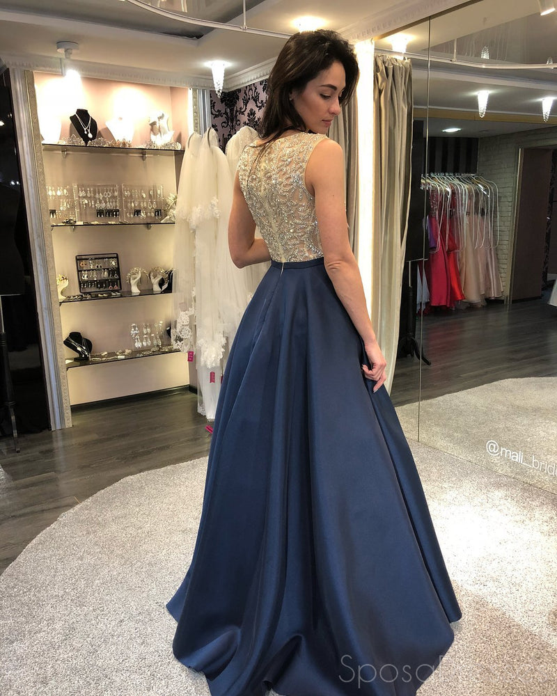 Navy Heavily Beaded Bateau A-line Long Evening Prom Dresses, 17579