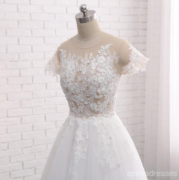 See Through Short Sleeve A Line Lace Wedding Bridal Dresses, Custom Made Wedding Dresses, Affordable Wedding Bridal Gowns, WD241