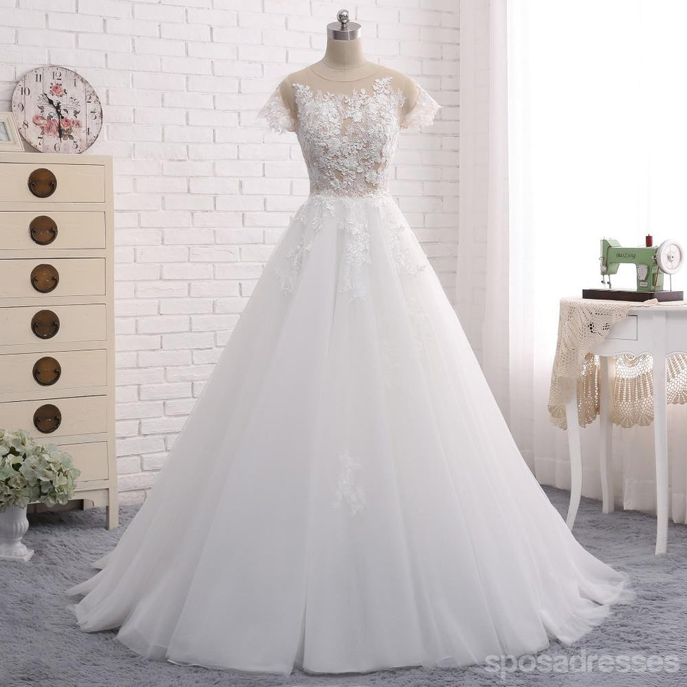 See through short sleeve a line lace wedding bridal dresses see through short sleeve a line lace wedding bridal dresses custom made wedding dresses affordable wedding bridal gowns junglespirit Gallery