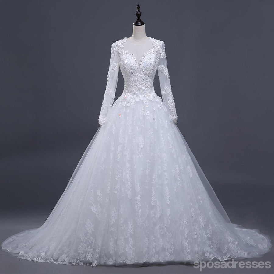 2018 Sexy See Through Long Sleeve Lace A Line Wedding Bridal Dresses,  Affordable Custom Made