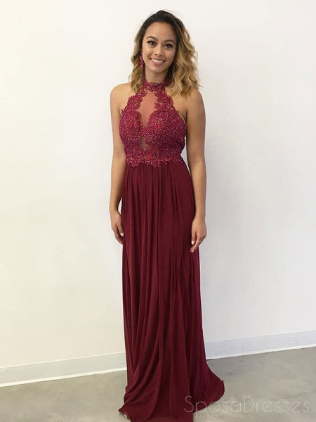 Sexy See Through Lace Beaded Halter Maroon Custom Long Evening Prom Dresses, 17381