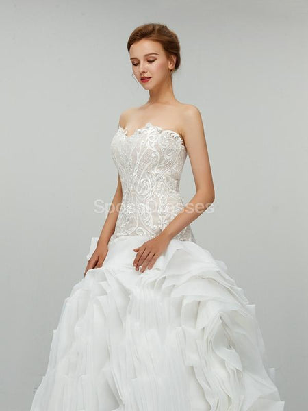Sweetheart Ball Gown Organza Long Wedding Dresses Online, Cheap Bridal Dresses, WD550