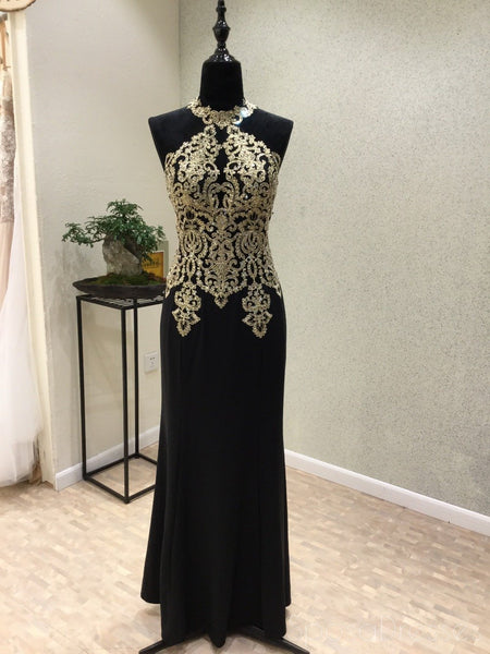 Black Halter Mermaid Gold Lace Beaded Evening Prom Dresses, Popular Black Party Prom Dresses, Custom Long Prom Dresses, Cheap Formal Prom Dresses, 17173