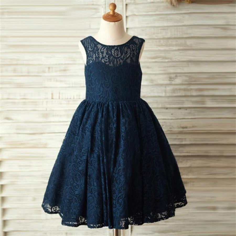 Flower girl dresses sposadresses navy blue lace lovely cute flower girl dresses with bow junior bridesmaid dresses fg084 ombrellifo Image collections