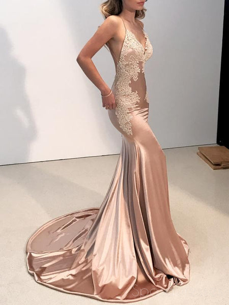 ebd34ab1a57 Sexy Backless Champagne V Neck Lace Mermaid Long Evening Prom Dresses