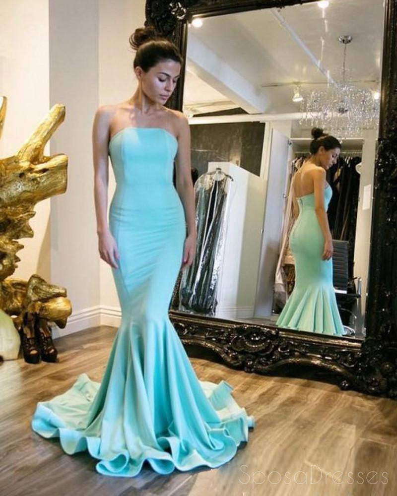 Strapless Mermaid Tiffany Blue Evening Prom Dresses, Long Sexy Party ...