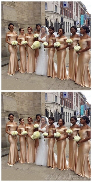Champagne Gold Floor Length Simple Mermaid Cheap Bridesmaid Dresses Online, WG524