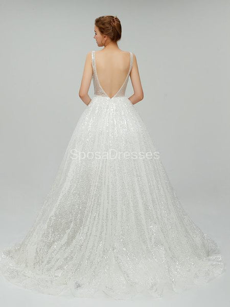 Sexy Backless Sequin V Neck Cheap Wedding Dresses Online, Cheap Bridal Dresses, WD551