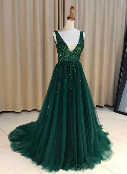 V Neck Emerald Green Tulle  A line Long Custom Evening Prom Dresses, 17452