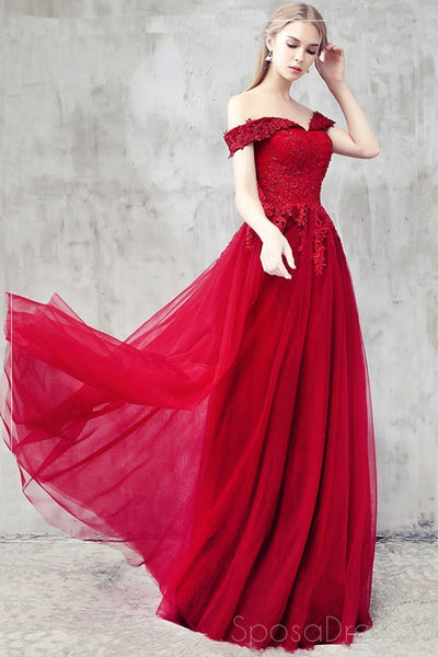 Off Shoulder Red Cheap Long Evening Prom Dresses, Cheap Custom Party Prom Dresses, 18583