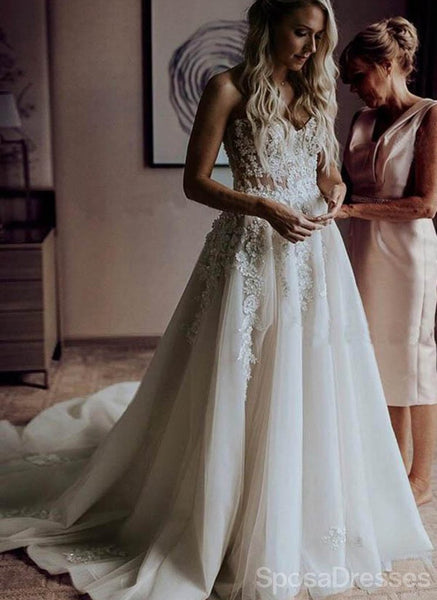 Sweetheart Lace See Through Cheap Wedding Dresses Online, Cheap Unique Bridal Dresses, WD596