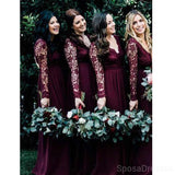 Long Sleeves Lace Chiffon Long Cheap Bridesmaid Dresses Online, WG608